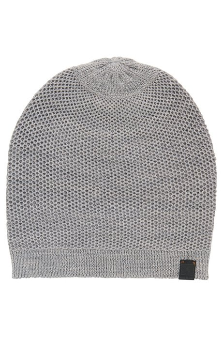 Birdseye-knit beanie hat, Light Grey