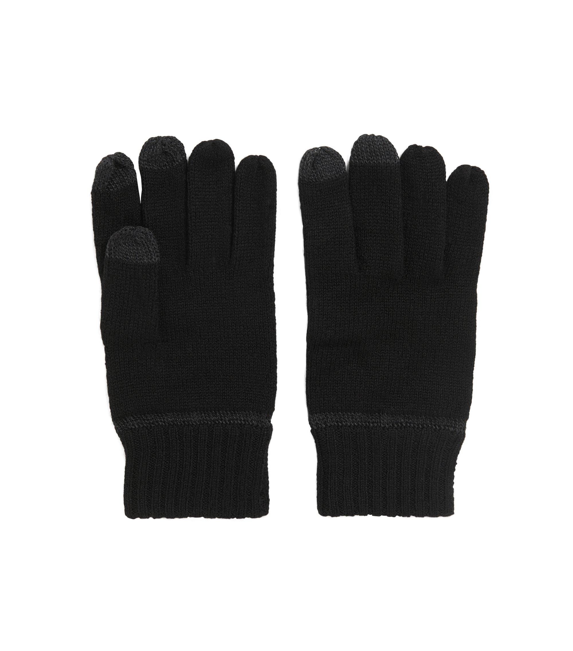Touchscreen-Handschuhe aus Schurwoll-Mix, Schwarz