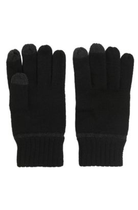 Wool-blend gloves with touchscreen functionality, Zwart