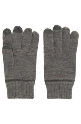 Wool-blend gloves with touchscreen functionality, Grau