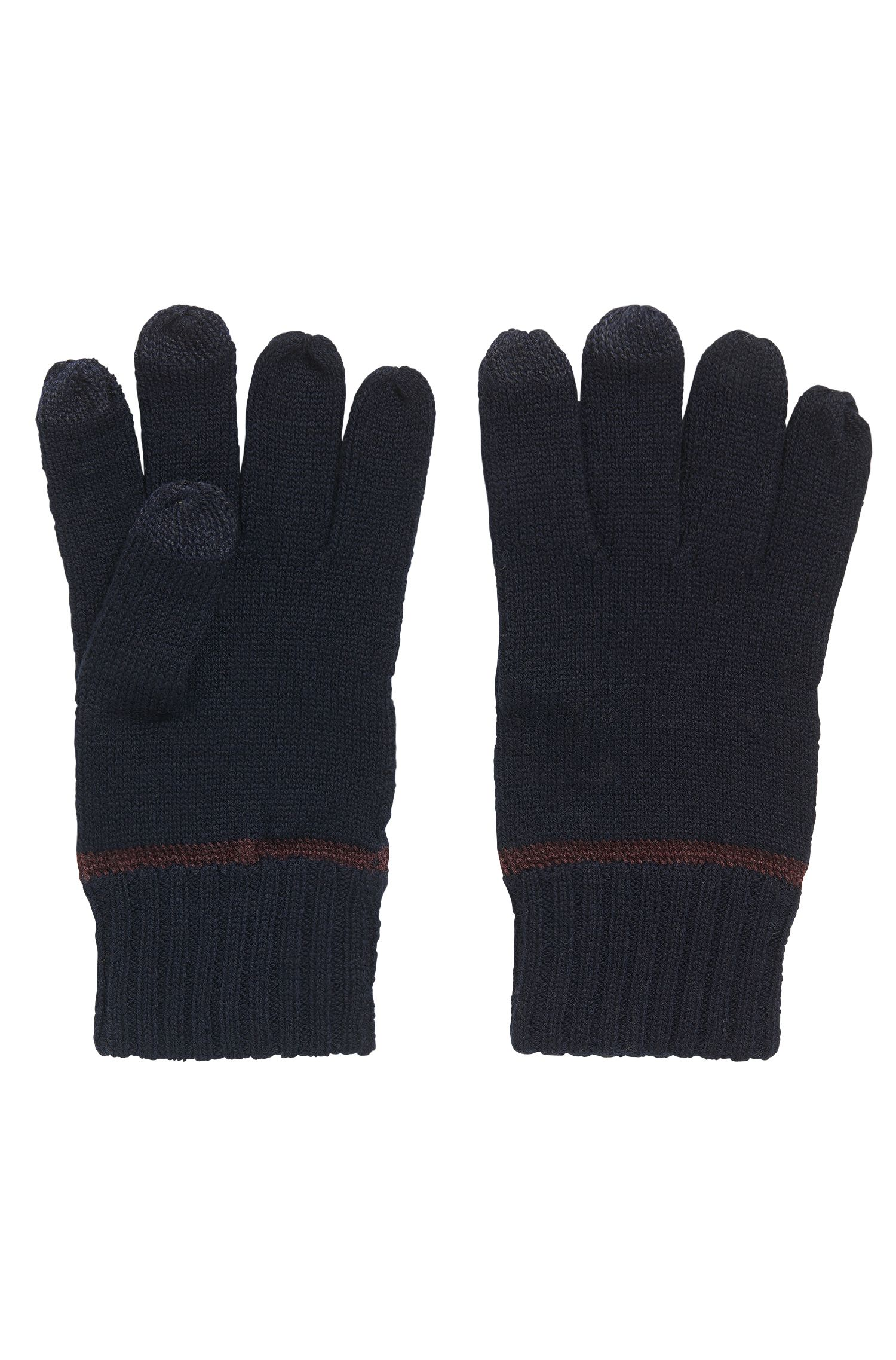 Wool-blend gloves with touchscreen functionality