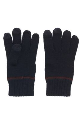 Wool-blend gloves with touchscreen functionality, Dark Blue