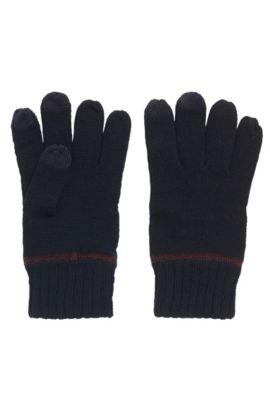 Wool-blend gloves with touchscreen functionality, Bleu foncé