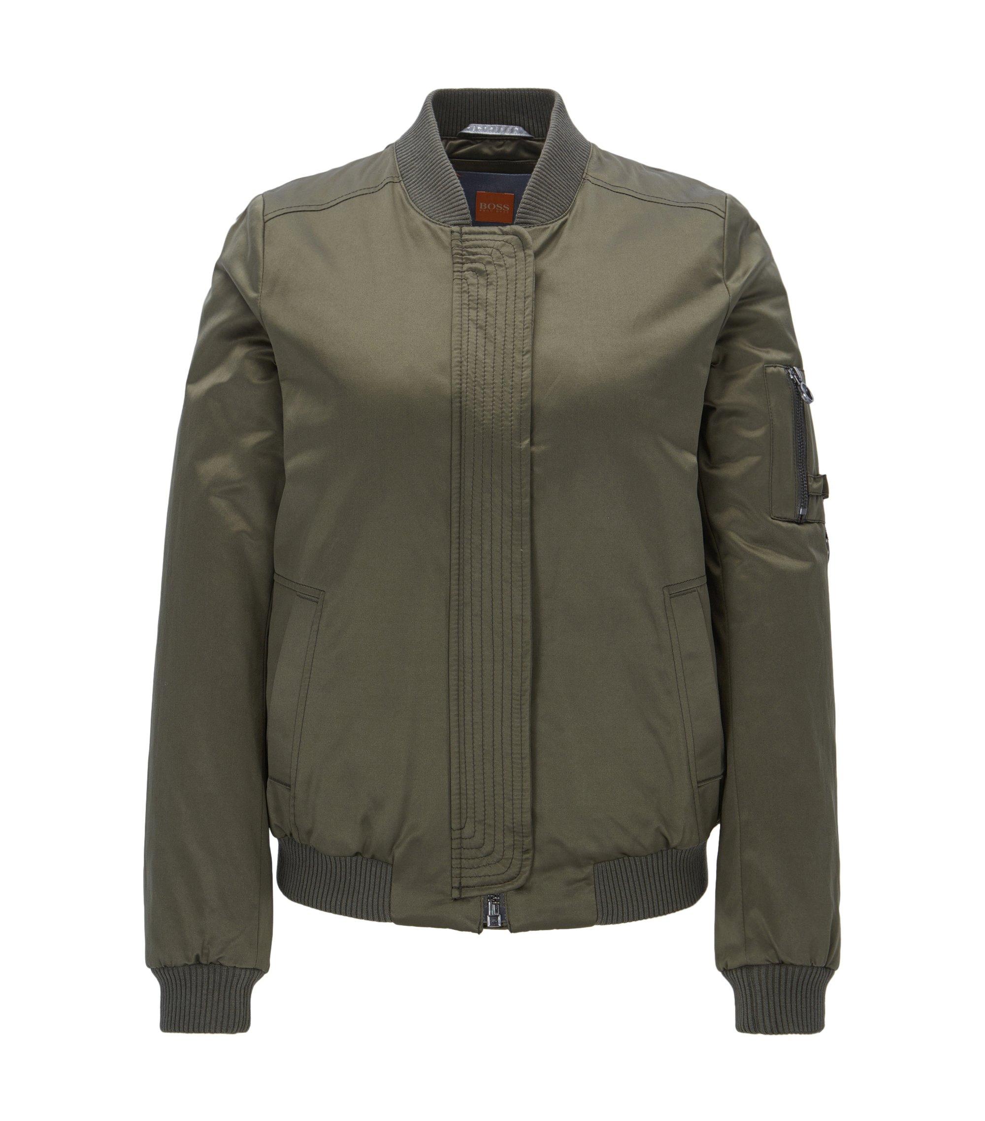 Lightweight bomber jacket in a cotton blend, Khaki