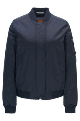 Lightweight bomber jacket in a cotton blend, Dark Blue