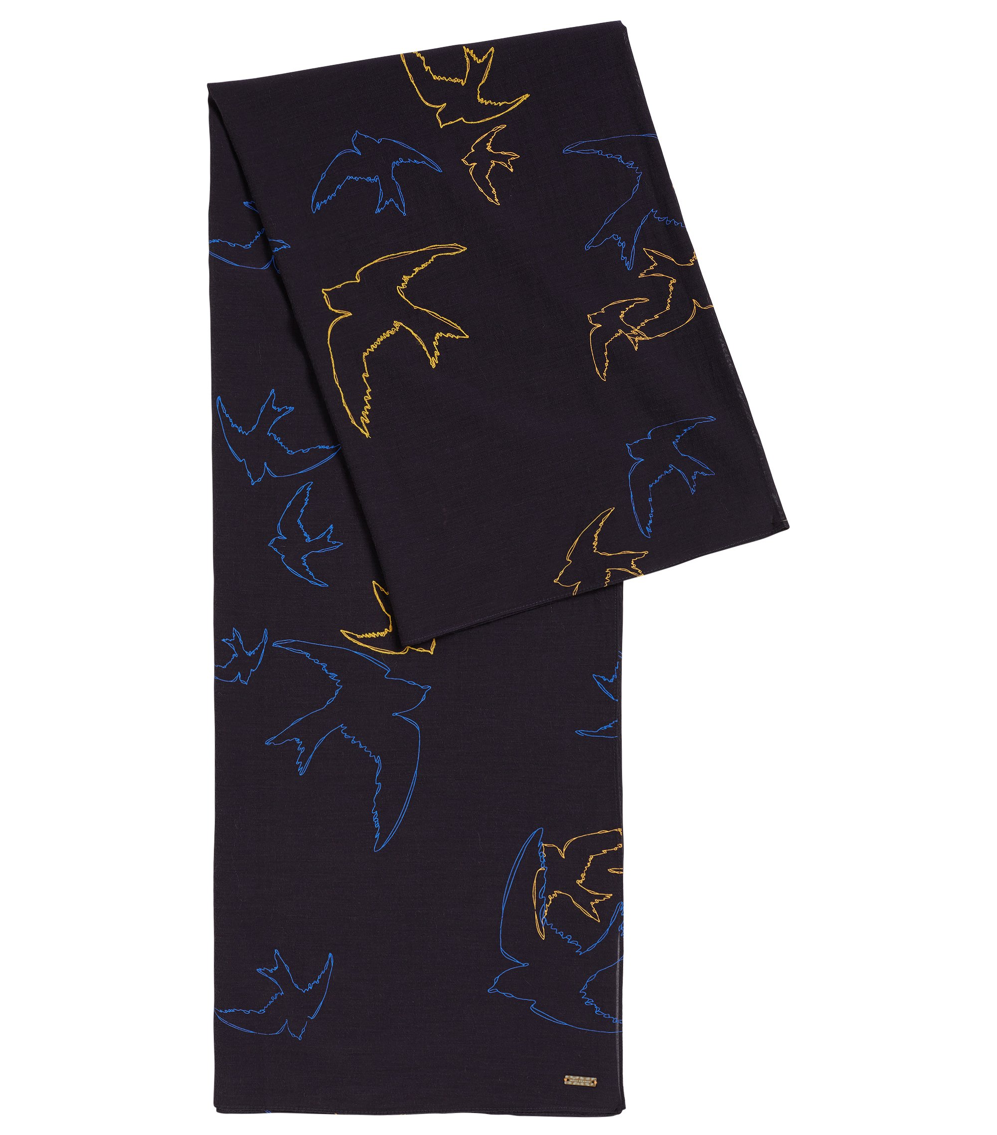 Lightweight poplin scarf with printed and embroidered bird motif, Natural