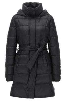Regular-fit quilted down coat with belt, Black