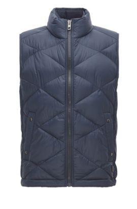 Gilet regular fit in tessuto idrorepellente, Blu scuro