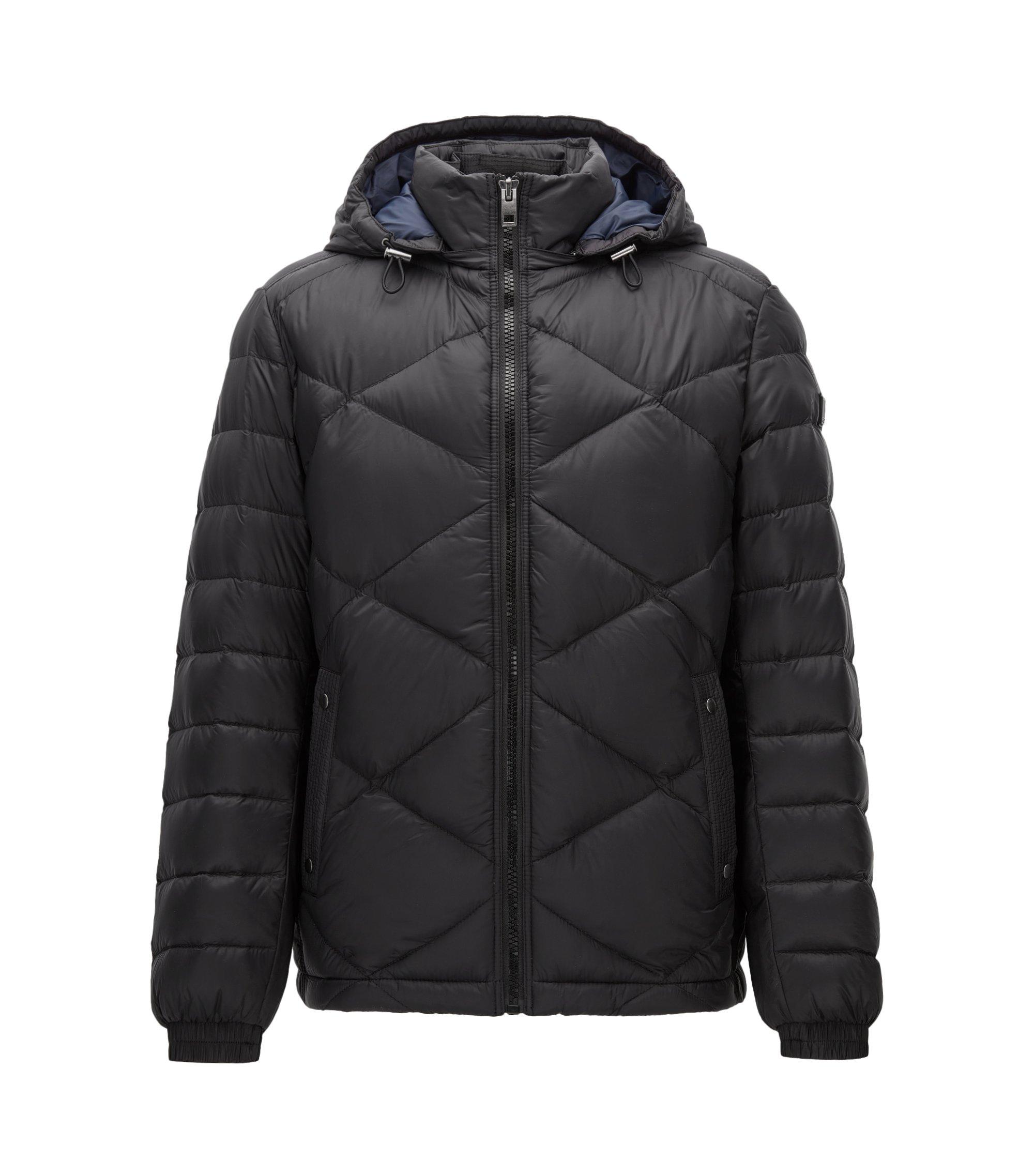 Regular-Fit Jacke aus wasserabweisendem Material-Mix, Schwarz