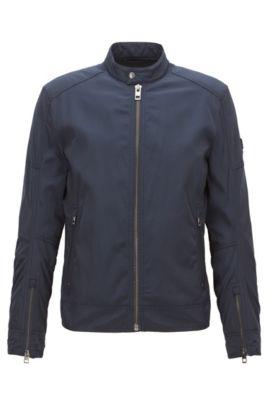 Slim-fit jas van waterafstotend materiaal, Donkerblauw