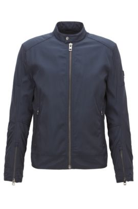 Slim-fit jacket in water-repellent fabric, Dark Blue
