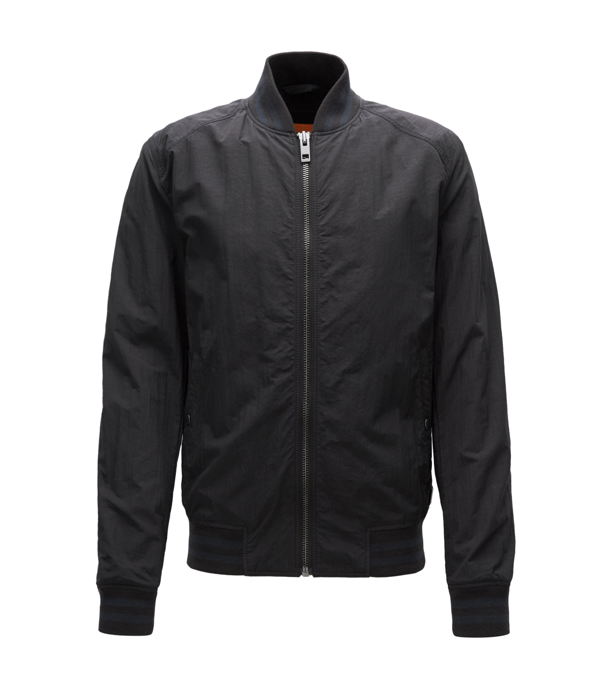 Slim-fit jacket in water-repellent fabric, Black