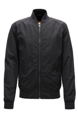 Slim-fit jacket in water-repellent fabric, Black