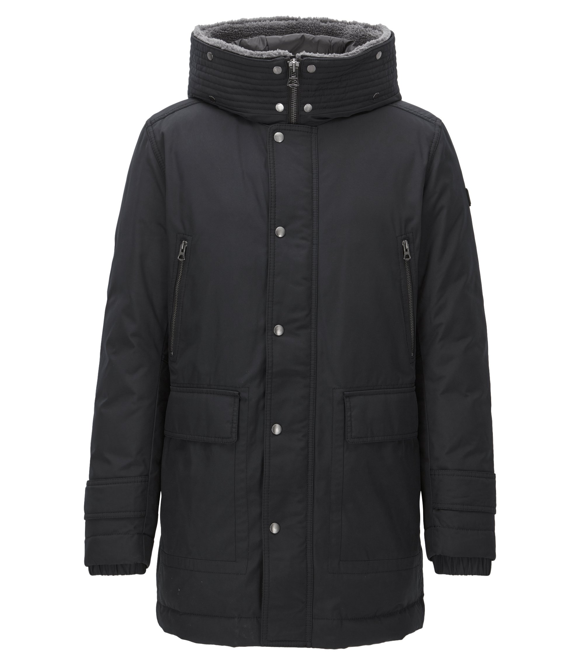 Regular-fit down parka with a water-repellent finish, Black
