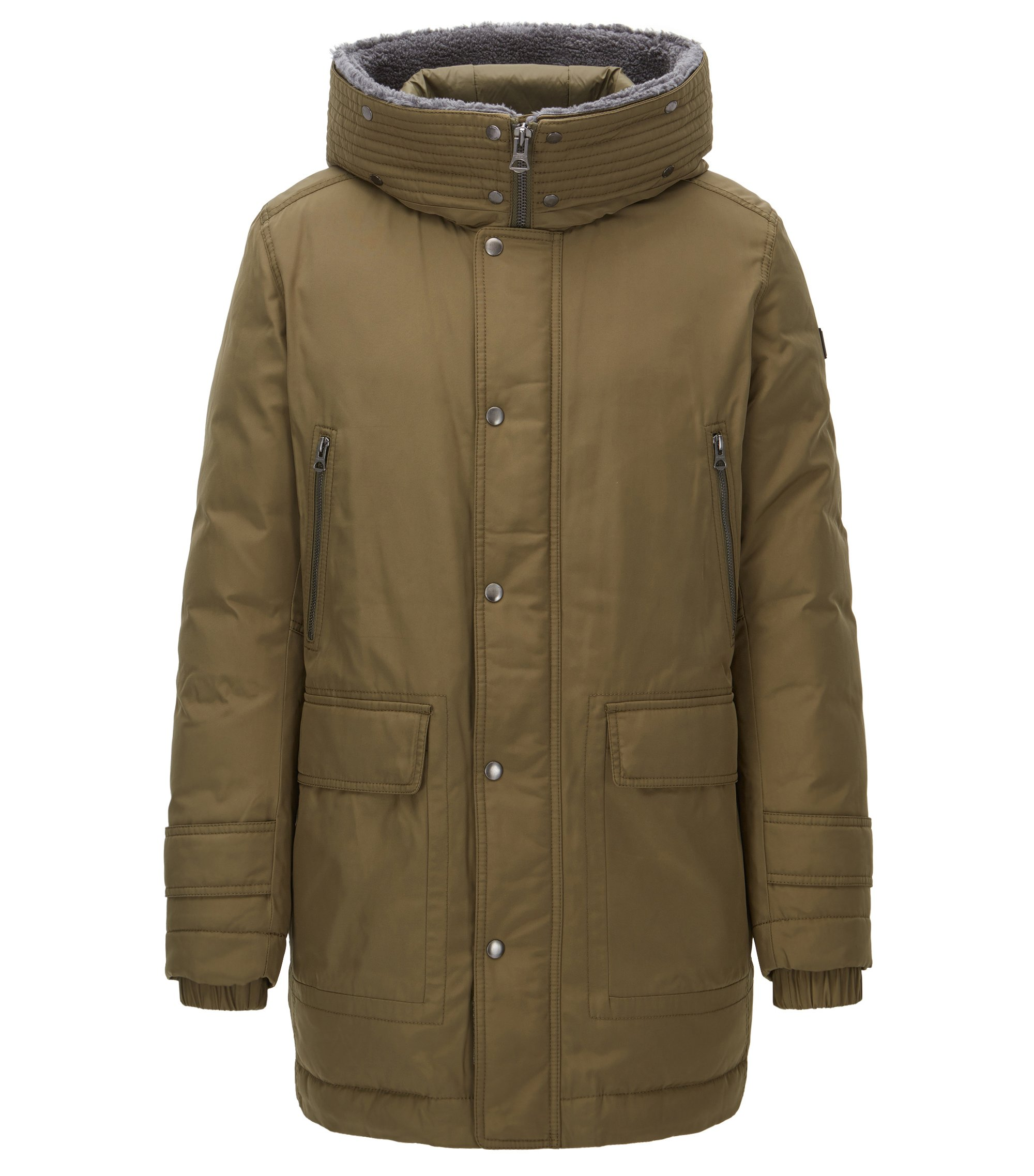 Regular-fit down parka with a water-repellent finish, Dark Green