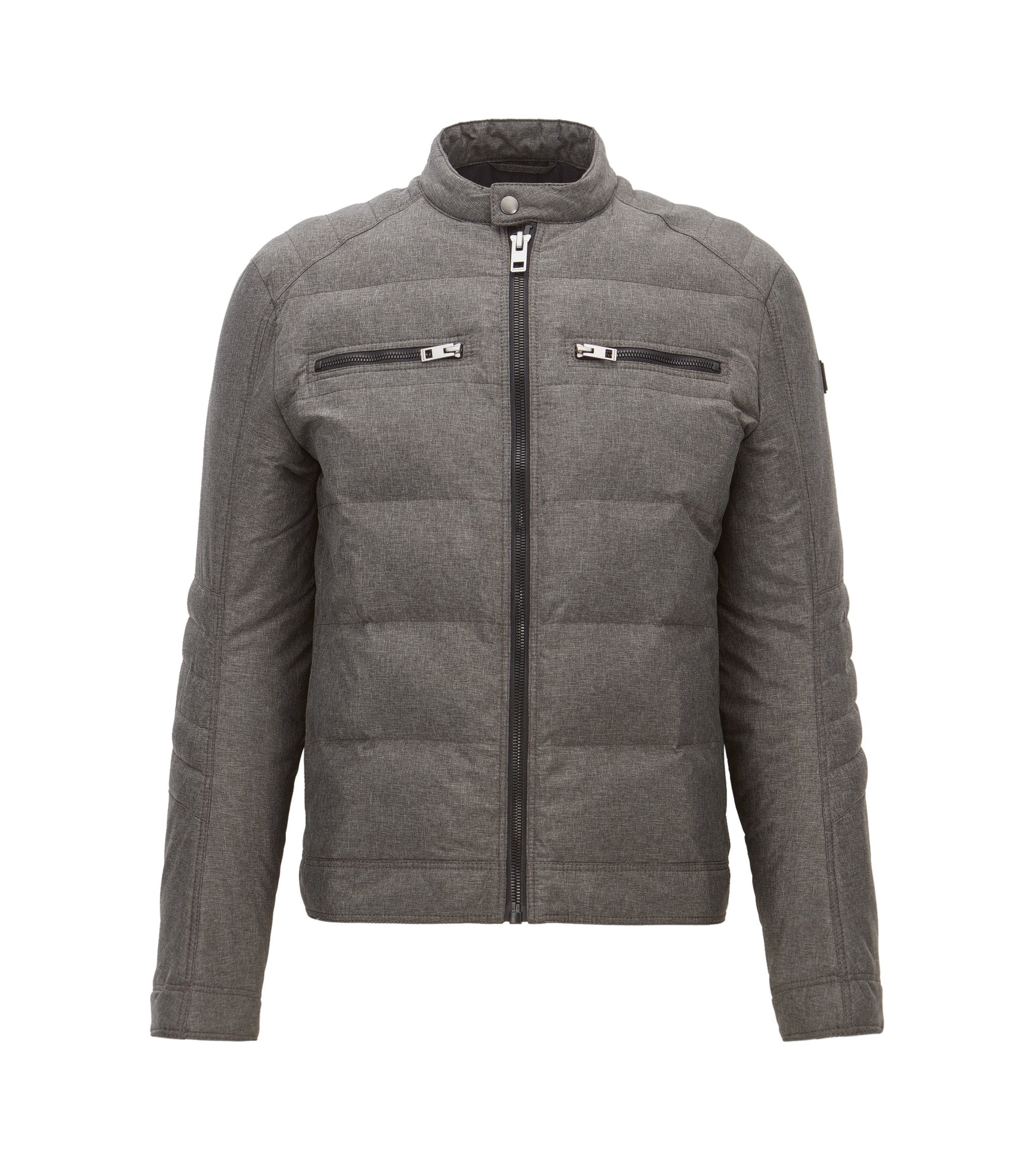 Veste Slim Fit en tissu technique, Anthracite