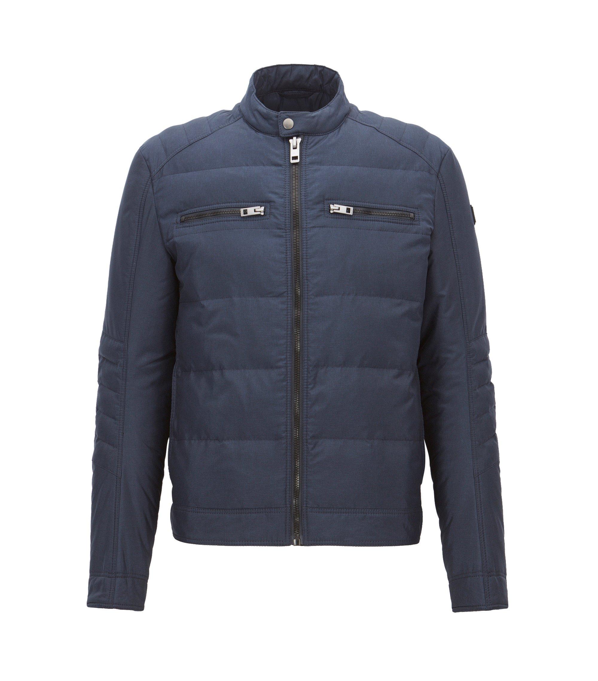 Slim-fit jas van technisch materiaal, Donkerblauw