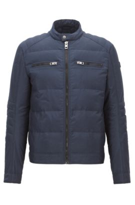 Slim-fit jacket in technical fabric, Dark Blue