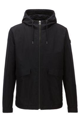 Regular-fit jacket in a cotton blend, Black