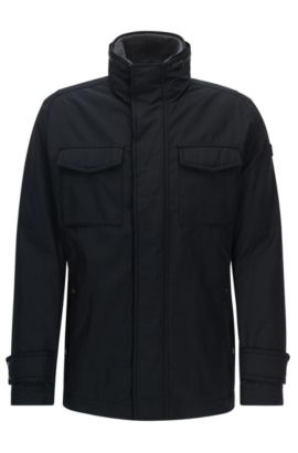 Regular-fit jacket with water-repellent finish , Black