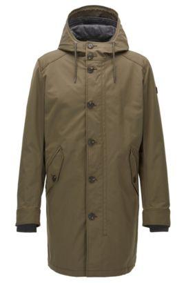Regular-fit parka jacket in water-repellent twill, Dark Green