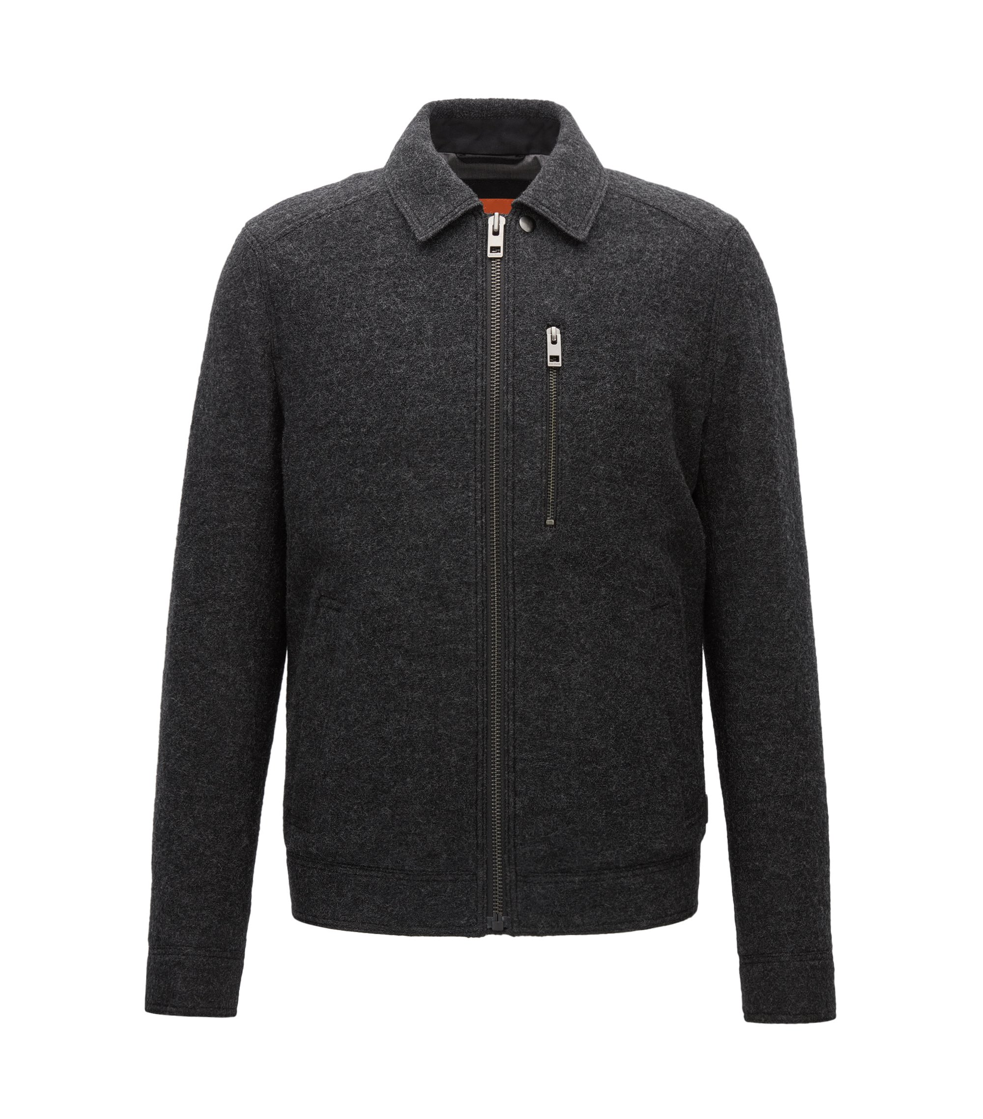 Slim-fit jacket in Italian virgin wool, Black