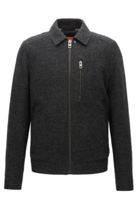 Slim-fit jacket in Italian virgin wool, Black