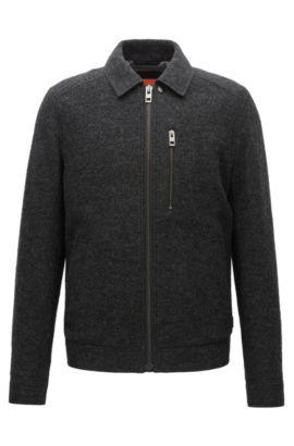 Slim-Fit Jacke aus italienischer Schurwolle, Schwarz