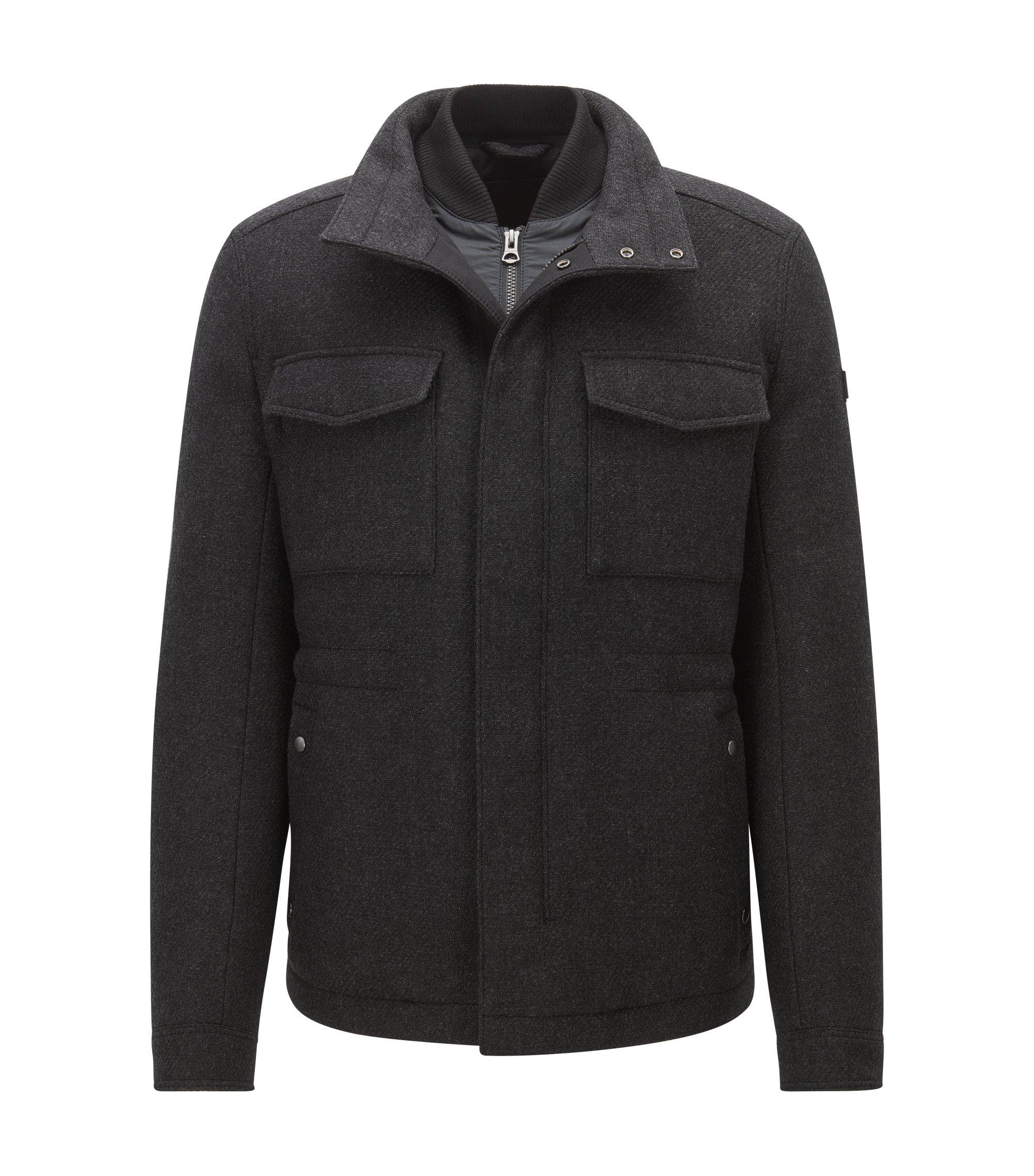 Abrigo regular fit en mezcla de lana, Negro