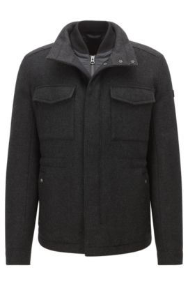 Regular-fit coat in a wool blend, Black