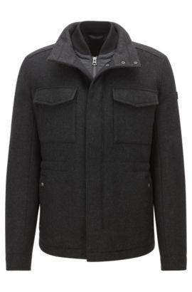 Regular-fit mantel van een wolmix, Zwart