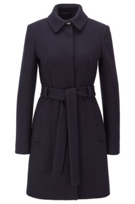 Regular-fit wool-blend coat with tie belt, Dark Blue