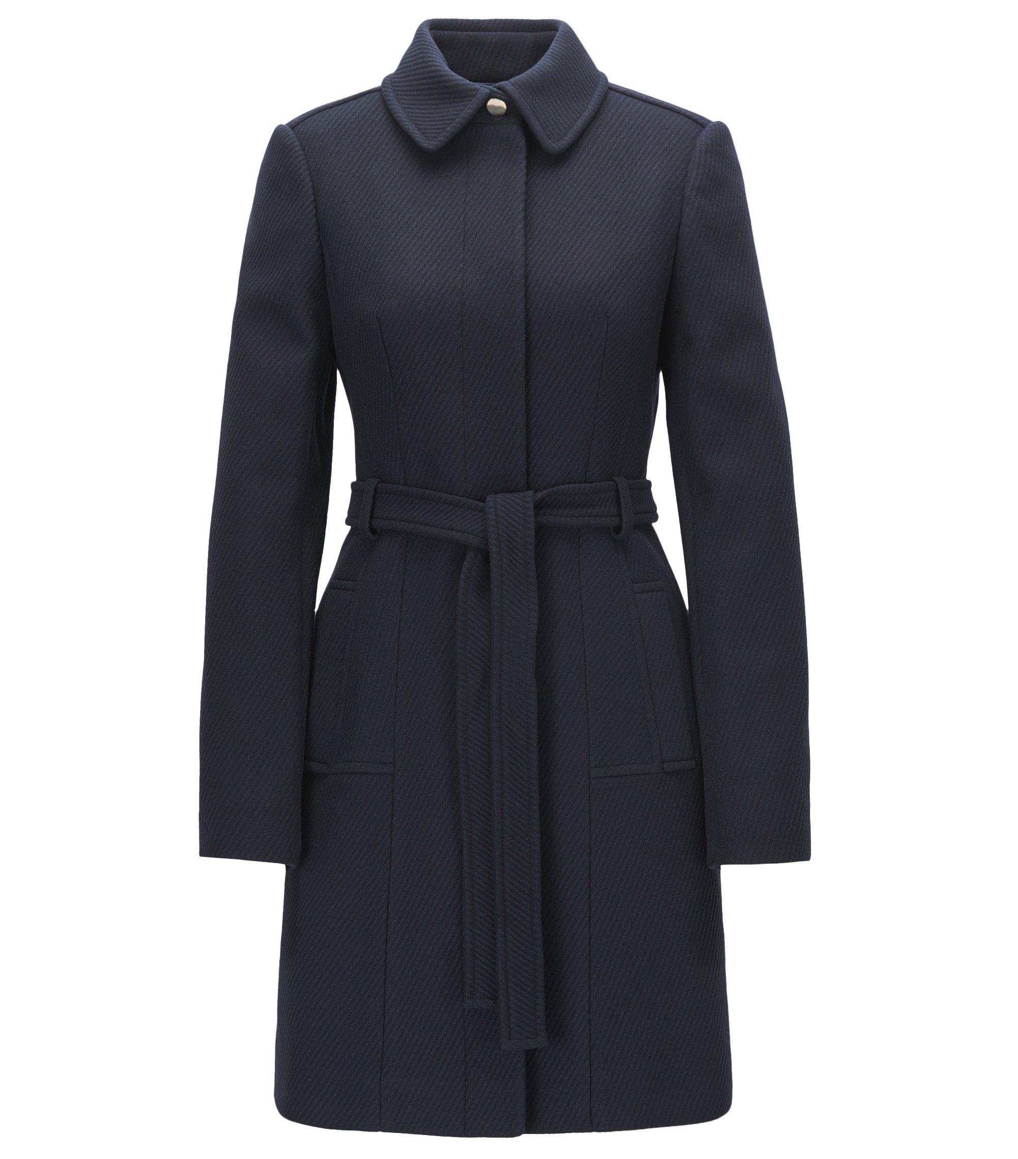 Abrigo regular fit en mezcla de lana con cinturón de anudar, Azul oscuro