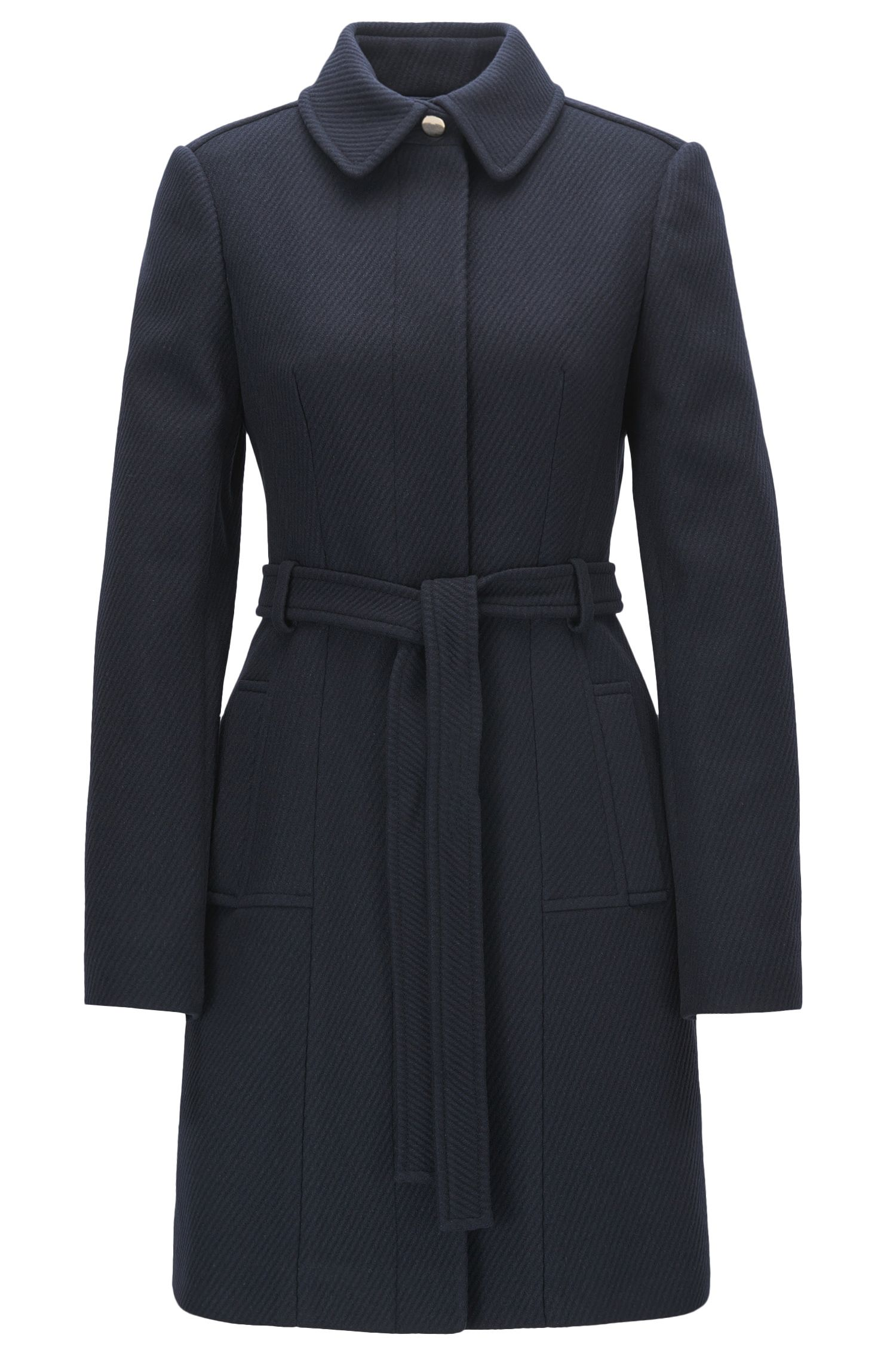 Regular-fit wool-blend coat with tie belt