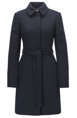 Regular-fit wool-blend coat with tie belt, Bleu foncé