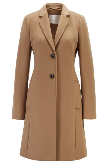 Regular-fit wool and cashmere coat, Light Brown