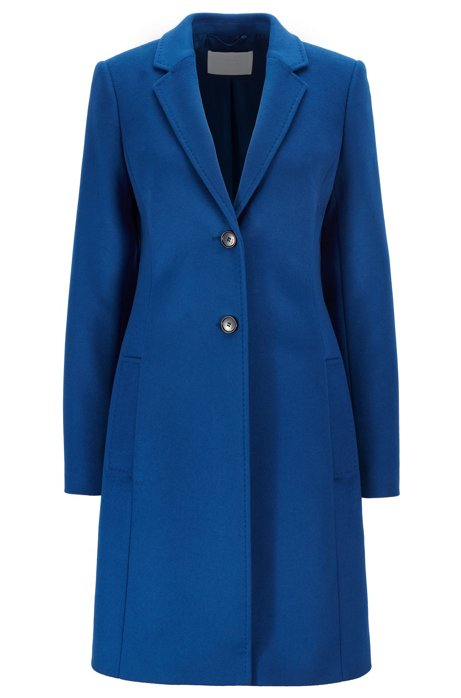 Regular-fit wool and cashmere coat, Blue