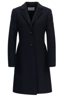 Regular-fit wool and cashmere coat, Dark Blue