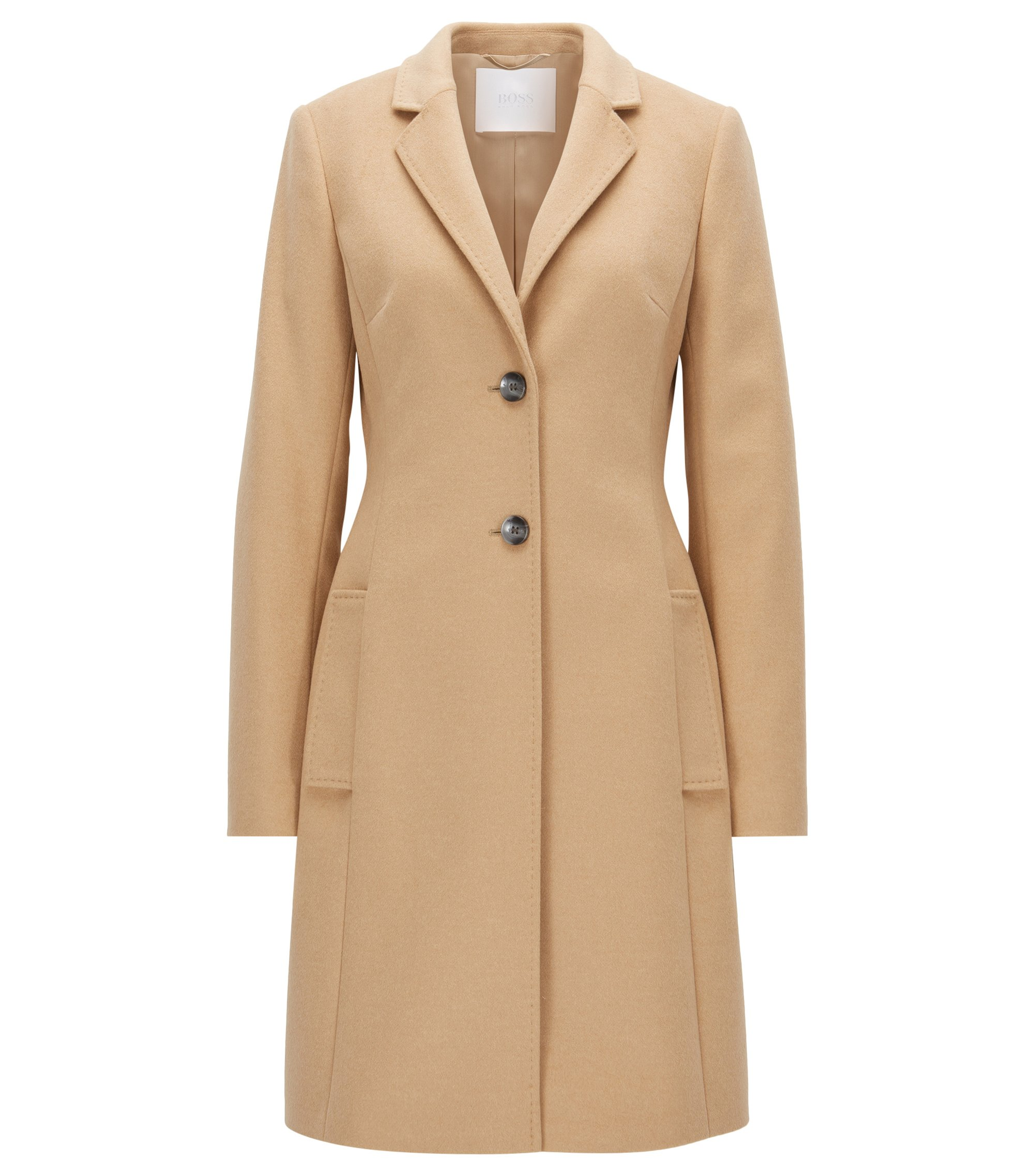 Regular-fit wool-blend coat with lapels, Light Brown