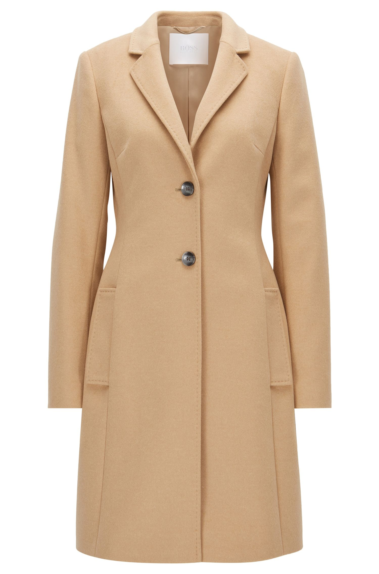 Regular-fit wool-blend coat with lapels