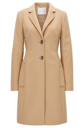 Regular-fit wool-blend coat with lapels, Brun chiné