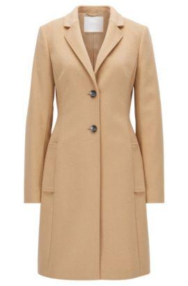 Abrigo regular fit en mezcla de lana con solapas, Marrón claro