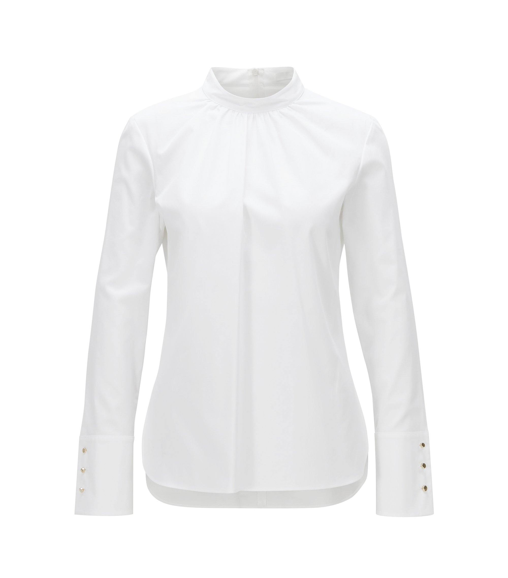 Regular-fit stretch-cotton blouse with gathered neckline, White