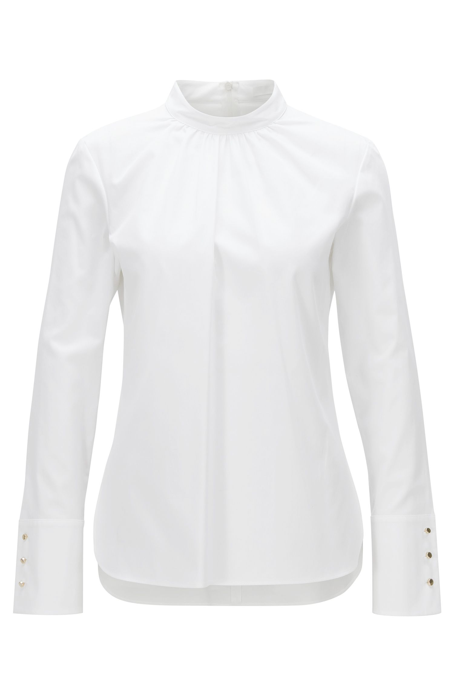 Regular-fit blouse van stretchkatoen met plooien aan de halslijn