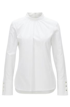 Chemisier Regular Fit en coton stretch à encolure froncée, Blanc