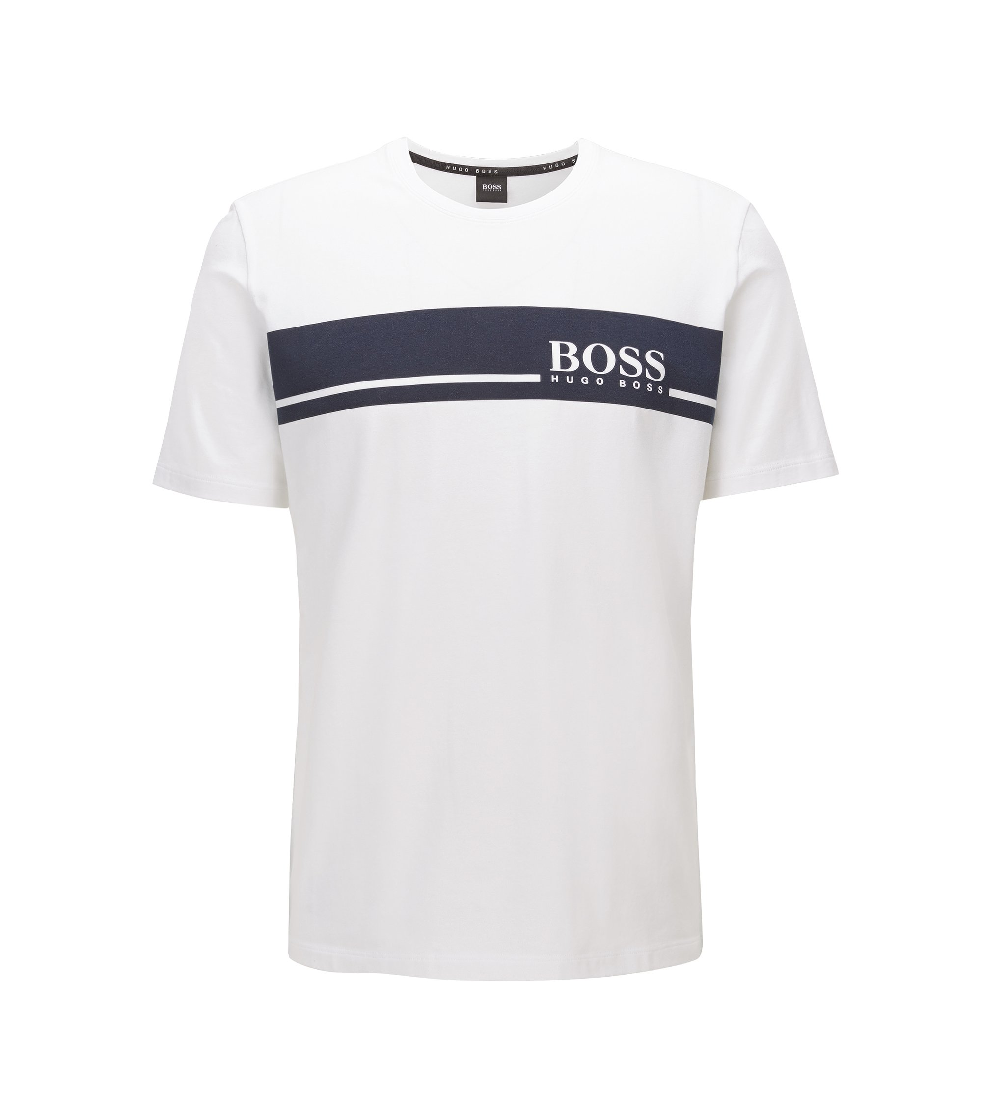 Regular-fit jersey pyjama T-shirt with logo detail, Natural