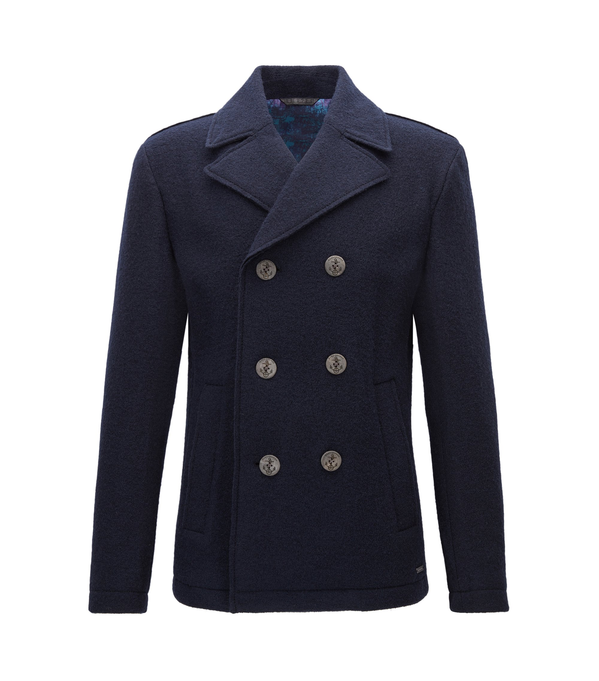 Veste croisée Regular Fit en laine, Bleu foncé