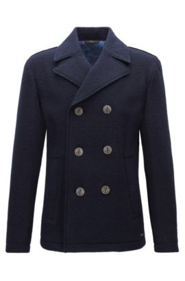 Regular-fit double-breasted jacket in wool, Dark Blue