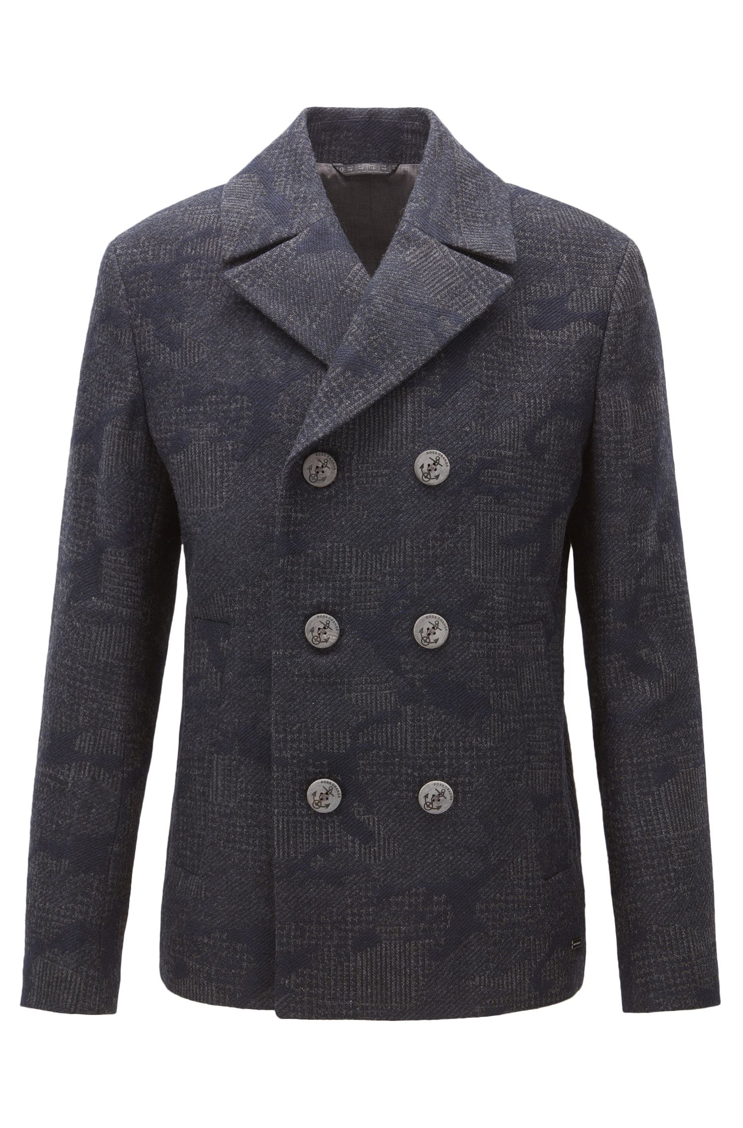 Regular-fit pea coat in camouflage jacquard