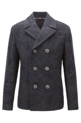 Regular-fit pea coat in camouflage jacquard, Dark Blue